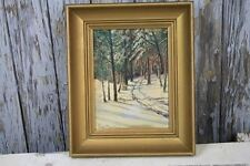 Oil Painting Landscape Winter Woods Path Trail Gold Wood Frame Signed Vintage