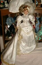 "RARE-VINTAGE FRANKLIN MINT 21""VICTORIAN PORCELAIN DOLL-ELABORATE HEADRESS,HAIR"