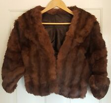 Stunning VINTAGE Real Rabbit Fur Cape Crop Shrug JACKET