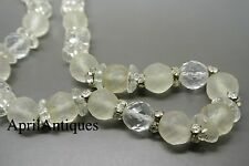Vintage French art Deco Depose clear frosted faceted glass beaded Necklace