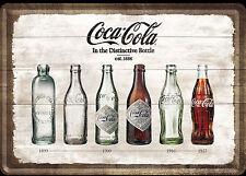 Nostalgic Art Coca Cola Timeline verschiedene Flaschen Zeitreise Blechpostkarte