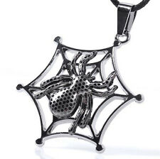 Fashion Women Men Unisex Stainless Steel Leather Chain Spider Pendant Necklace