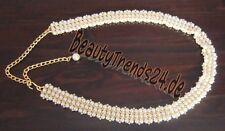 NEU: Chicer Perlen-Gürtel in Gold + Cremeweiß, 3 cm breit, 80 cm + 30 cm Verläng