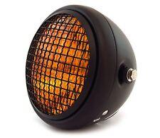 """6.5"""" Side Mount Halogen Motorcycle Headlight w/ Grill - Matte Black Amber"""