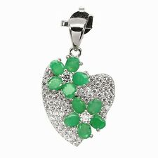NATURAL EMERALD & W.TOPAZ PENDANT & CHAIN NECKLACE WHITE GOLD over 925 SS