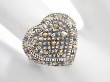 Vintage Sterling Silver Marcasite Accent Heart Ring Sz 8.5 #1968