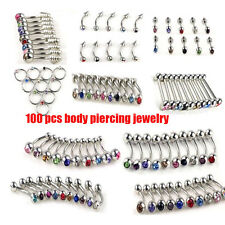 100pcs Wholesale Body Jewelry Lots Tongue Eyebrow Lip Belly Navel Ring Piercing
