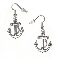 3D Ship's ANCHORS Silver Plated Dangle Hook Earrings NEW nautical charms