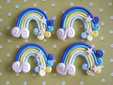 4 x Rainbow Star Clouds Polymer Clay Cabochon Flatback Scrapbooking Craft DIY