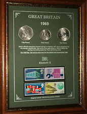 FRAMED 1969 COIN STAMP SET (RETRO 47th BIRTHDAY PRESENT WEDDING ANNIVERSARY GIFT