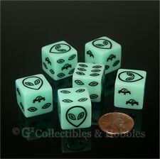 NEW Set of 6 Black Alien UFO Dice Glow in the Dark D6 RPG Gaming Six Sided D6s