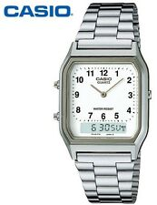 AQ-230A-7B Casio Watch Dual Time Silver Analog Digital Steel Band. TOIV