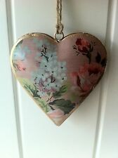 VINTAGE SHABBY FLORAL PINK  METAL HEART 10 CM WALL HANGING BY SASS & BELLE