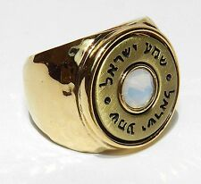 24K Gold Plated Ring Kabbalah Coin Hebrew Jewish With Moonstone Size 7 & 6.5