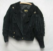 S2432 Learsi Women's Black Leather Small Western Rodeo Jacket w Fringe 2 Pockets