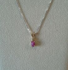 14k Yellow Gold Pink Star Sapphire Pendant with Diamond Accent
