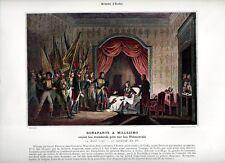 Stampa antica NAPOLEONE BONAPARTE nel 1796 Battaglia di MILLESIMO 1890 Old print