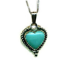 """Genuine Blue Green Turquoise Heart Necklace 18"""" Streling Silver 925 Gift Boxed"""