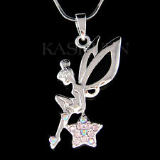 w Swarovski Crystal ~Purple Tinkerbell ANGEL Wing Fairy Tink Star Charm Necklace