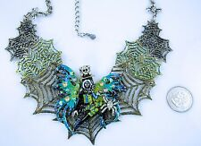 Kirks Folly Avalon Steampunk Spiderella Spider Web Necklace Halloween SF