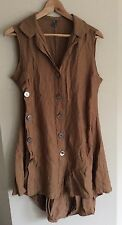 MOTTO BROWN BUTTON DETAILED TUNIC TOP SIZE 10