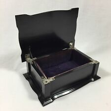 ANTIQUE EBONY WOOD JEWELLERY BOX VINTAGE DRESSING TABLE VANITY WOODEN JEWELRY