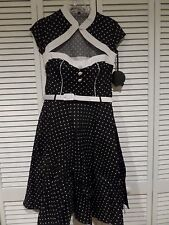 NWT Hell Bunny Melanie Polka Dot Rockabilly Dress Pin Up Style Black White MED