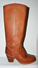 ZODIAC SZ 5.5 M BROWN LEATHER KNEE HIGH WESTERN COWBOY BOOTS BOTIES