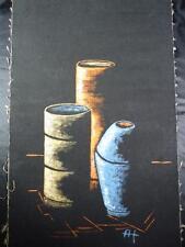 Tecnica mista immagine, natura morta, su lino, firmati A.H., 70 X, 40cm (f13j-74)