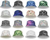 WOMEN'S MENS BUCKET HAT FULL PRINT BUSH VARSITY BANDANA HIP HOP SUMMER HAT