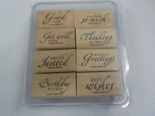 STAMPIN UP SINCERE SALUTATIONS WOOD MOUNTED GENTLY USED SET OF 8 STAMPS 37rr