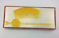 Vintage Japanese Craved Sculpture resin kushi kanzashi Comb & Hair pin with box