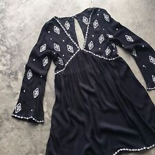 New Women's Bohemian Black Block Print Tunic Hippie Beach Swing Top - Medium