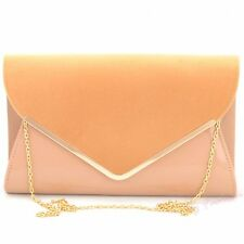 NUDE BEIGE PATENT SUEDE LEATHER LADIES EVENING CLUTCH SHOULDER HAND BAG