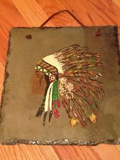 PAINTED OIL ON SLATE OF INDIAN MALE IN FULL HEADRESS WALL HANGING