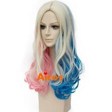 Long Curly Cosplay wigs Pink Blue Blonde for Batman Suicide Squad Harley Quinn+