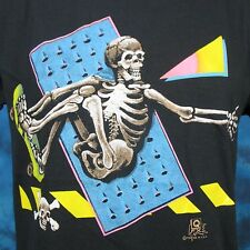 vintage 80s SKELETON SKATEBOARD PAPER THIN T-Shirt SMALL surf rock punk cartoon