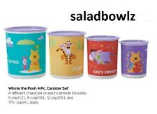 TUPPERWARE New 4-pc WINNIE THE POOH CANISTER SET 5 8 12 17 cup Canisters fREEsHP