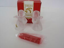 Timeless Treasures Frosted Glass Angel Girl and Boy Candle Holder Set Christmas