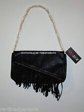 JF JUST FAB - PURSE – CLUTCH - SHOULDER BAG – BLACK – FRINGE – GOLD - NWT $50