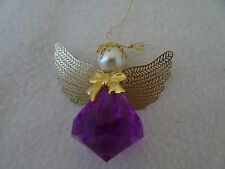 LAVENDER ACRYLIC ANGEL ORNAMENT-FILIGREE WINGS-GOLDTONE