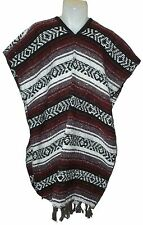 Traditional Mexican Poncho - BURGUNDY ONE SIZE FITS ALL Blanket Serape Gaban E1