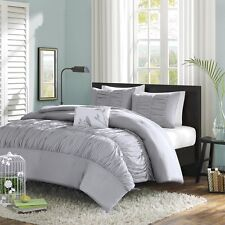 Luxury 4-Piece Comforter Set Bedding King Size Bed in a Bag Grey Bedspread New