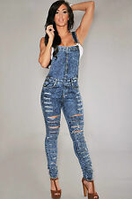 Salopette pantaloni Jeans tagli aderente Tagli Destroyed Denim Fitted Overall M