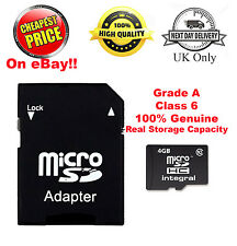 100% Real 4GB SDHC Class 6 Micro Memory SD Card + Adapter for Media Storage