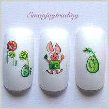 Nail Art Water Decals/ Transfers #127 Easter Eggs & Easter Bunny
