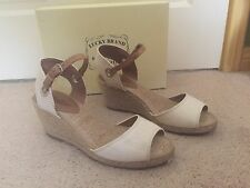 Lucky Brand Kyndra Natural Beige Tan Camel Neutral Rope Espadrille Wedges Sz 9