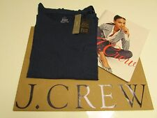 NWT Women's J.CREW  GARMENT-DYED POCKET T-SHIRT/ Navy  Medium / Made in the USA.