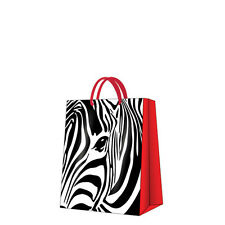 Printed Paper Gift Present Bag ZEBRA EYE Animal Monochrome Black White Medium /D