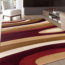 Abstract Contemporary Modern Burgundy Area Rug (5'3 x 7'3)